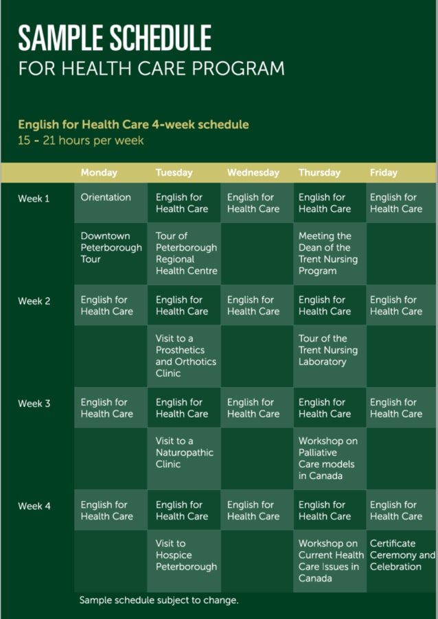 English for Health Care Ssample Schedule